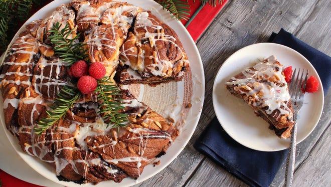 Nutella Raspberry Holiday Wreath with Citrus Glaze