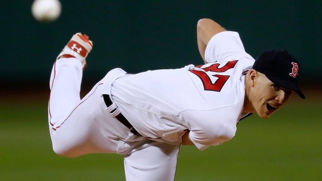 Boston Red Sox's Nick Pivetta pitches during the first inning of the team's baseball game against the Baltimore Orioles, Tuesday, Sept. 22, 2020, in Boston.
