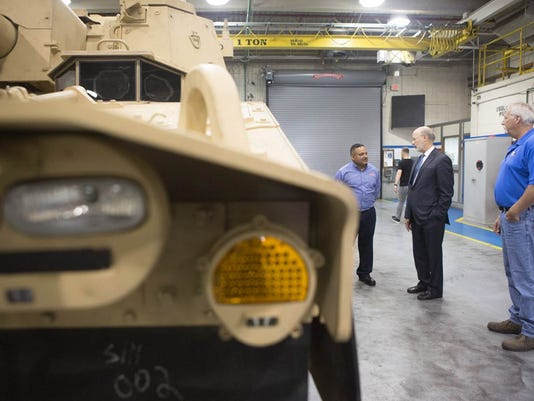 Gov. Tom Wolf visited BAE Systems in York County on Monday to  announce a plant expansion and 530 new jobs.