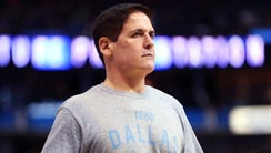 Dallas Mavericks owner Mark Cuban reacts during the