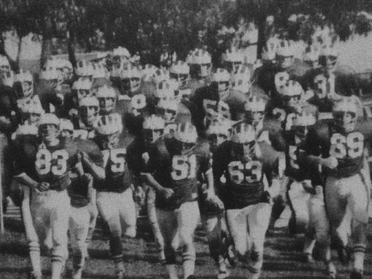 The Brick Green Dragons take the field during the 1974 season when they went 10-0 and won the NJSIAA South Jersey Group IV title in the first year of the state sectional playoffs.