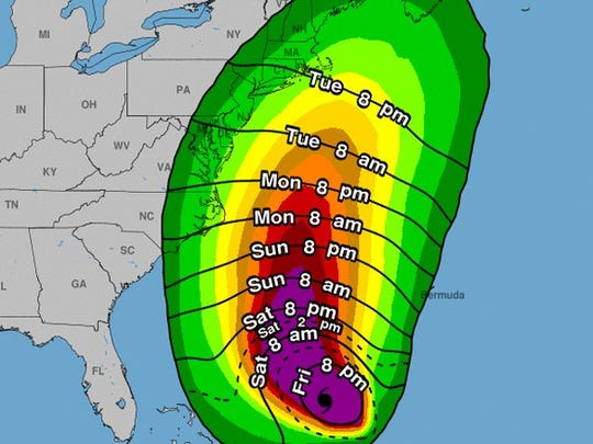 Tropical storm force winds from Jose could arrive in the Shore area by Tuesday morning, according to the latest official forecast.