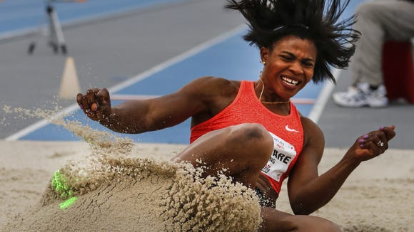 Blessing Okagbare competes in the long Jump at the Drake Relays Friday, April 29, 2016.