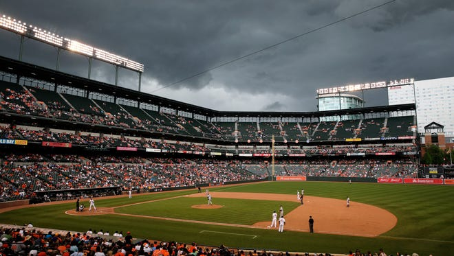 Storm clouds roll over Oriole Park at Camden Yards in the eighth inning of a baseball game between the Baltimore Orioles and the New York Yankees in Baltimore, Sunday, June 5, 2016. Wet weather brought about a rain delay in the eighth.