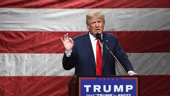 President Donald Trump addresses the crowd at Mid-Hudson