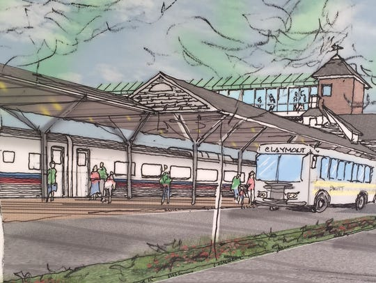 An artist rendering of the new Claymont train station