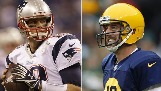 New England Patriots quarterback Tom Brady, left, and the Green Bay Packers' Aaron Rodgers.