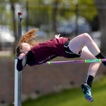 Choteau's Payge Durocher competes in the high jump earlier this spring at Memorial Stadium.