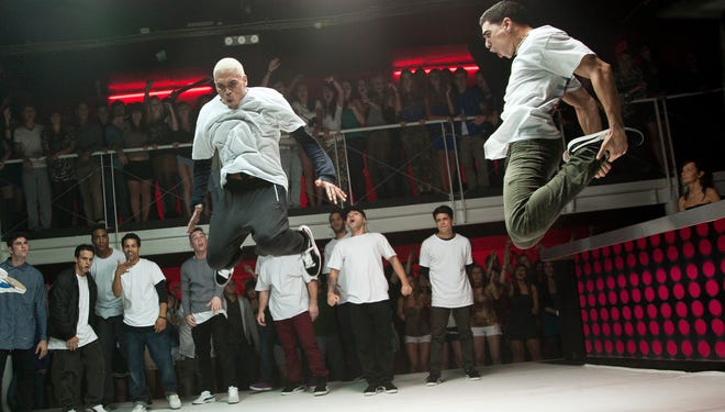 Chris Brown,left, and Anis Cherufa grab some air in the dance flick 'Battle of the Year.'