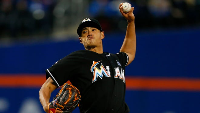 Marlins starting pitcher Wei-Yin Chen beat out an infield grounder for his first career hit against the Mets at Citi Field in New York.