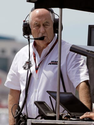 Team owner Roger Penske watches his cars during practice for the IndyCar Firestone Grand Prix of St. Petersburg auto race Saturday, March 28, 2015, in St. Petersburg, Fla. The race takes place on Sunday. (AP Photo/Chris O'Meara)