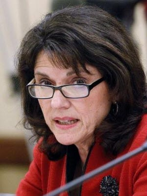 State Sen. Leah Vukmir (R-Wauwatosa) testifies in favor of an education-related bill during a new conference in 2014 at the Capitol in Madison.