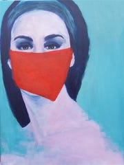 Red is a prominent feature in this portrait by Ann Marie Roselli-Kissack at Emerge Gallery & Art Space.