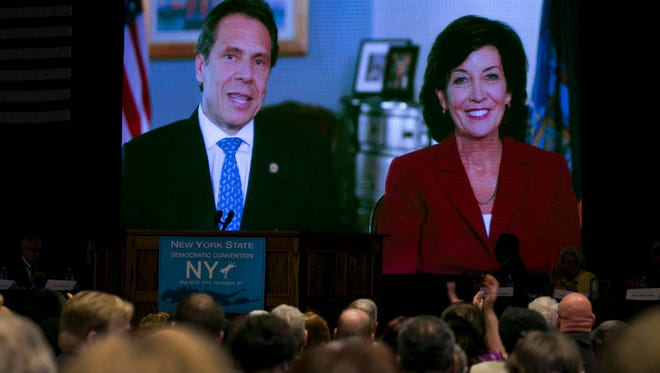 Gov. Andrew Cuomo appears Wednesday via video with former Buffalo-area Rep. Kathy Hochul, his choice to be New York's next lieutenant governor, during the opening session of the state's Democratic Convention on Long Island.