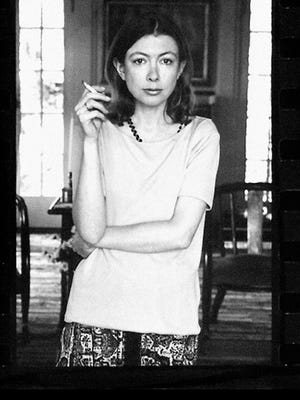 A portrait of author Joan Didion, featured in the Netflix documentary 'Joan Didion: The Center Will Not Hold.'