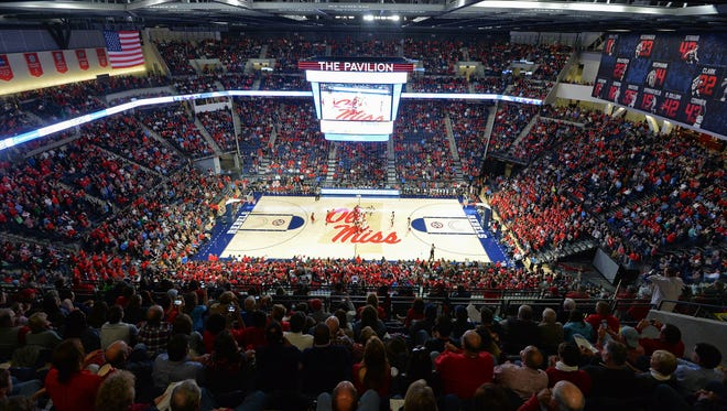 Fans fill the new Pavilion at Ole Miss during the first half of the Rebels' game against Alabama on Thursday. It was the first game in the new basketball arena.