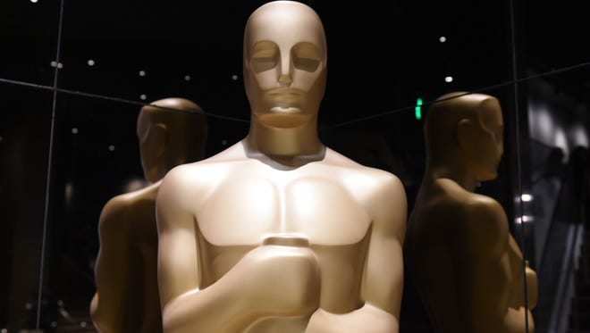 Oscar statuettes on display at the Samuel Goldwyn Theater in Beverly Hills, California.