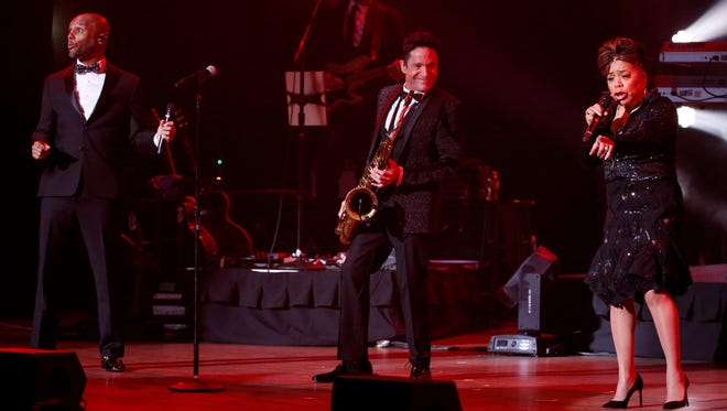 From left, Kenny Lattimore, Dave Koz and Valerie Simpson performed on stage as part of the Dave Koz and Friends Christmas 2016 Tour, which stopped at the Plaza Theatre on Tuesday in Downtown El Paso.