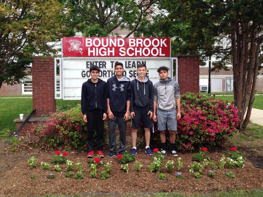 Members of the Bound Brook High School Interact Club participated in the Make Bound Brook Beautiful flower-planting project on Saturday, May 21.