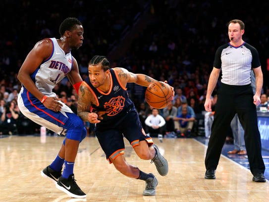 Mar 31, 2018; New York, NY, USA; New York Knicks guard
