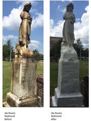 Before and after photos of the statue of Ida Revels-Redmond, daughter of the first African American to serve in the U.S. Congress, who represented Mississippi in 1870 and 1871.