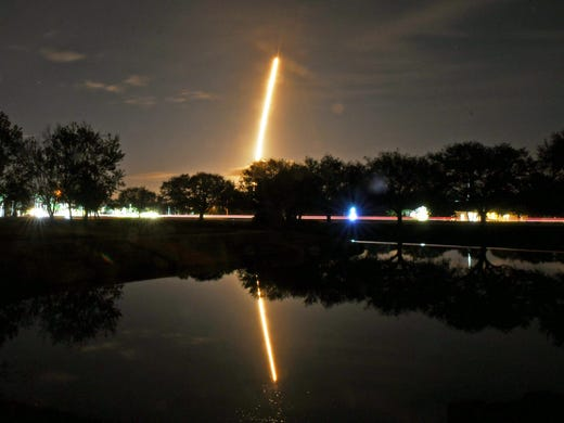 A SpaceX Falcon 9 rocket launch with the Mysterious