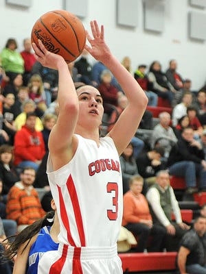 Crestview's Renee Stimpert shoots the ball  during their Division III sectional championship game against Wynford.