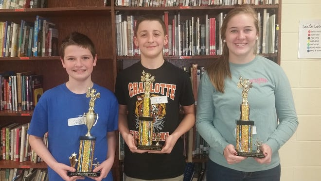 CMS 8th grade Spelling Bee winners: 1st Tony Tilley, 2nd Tristan Akins, 3rd Lexi Gibbs