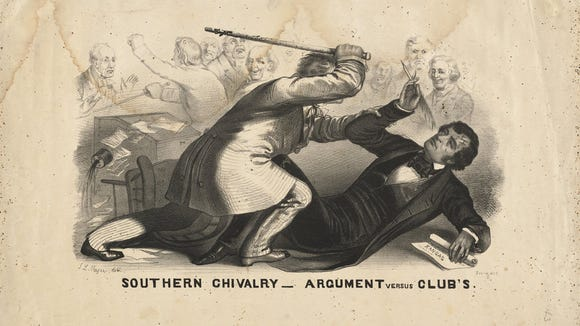 This famous drawing shows South Carolina Senator Preston Brooks caning Massachusetts Charles Sumner on the floor of the U.S. Senate in 1856.