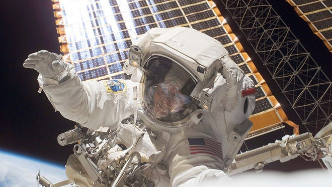 Astronaut Peggy Whitson is pictured during a spacewalk in November of 2007 when she was Expedition 16 Commander.