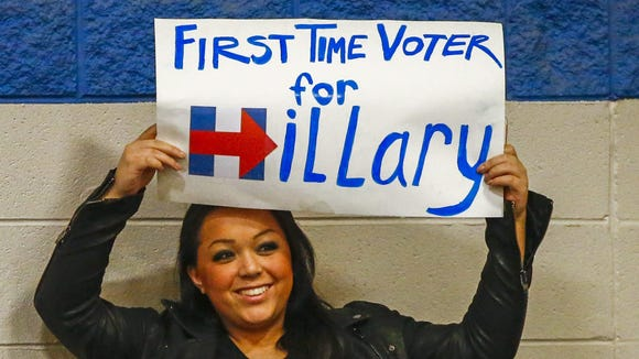 A supporter holds a sign as she waits for Hillary Clinton to speak.