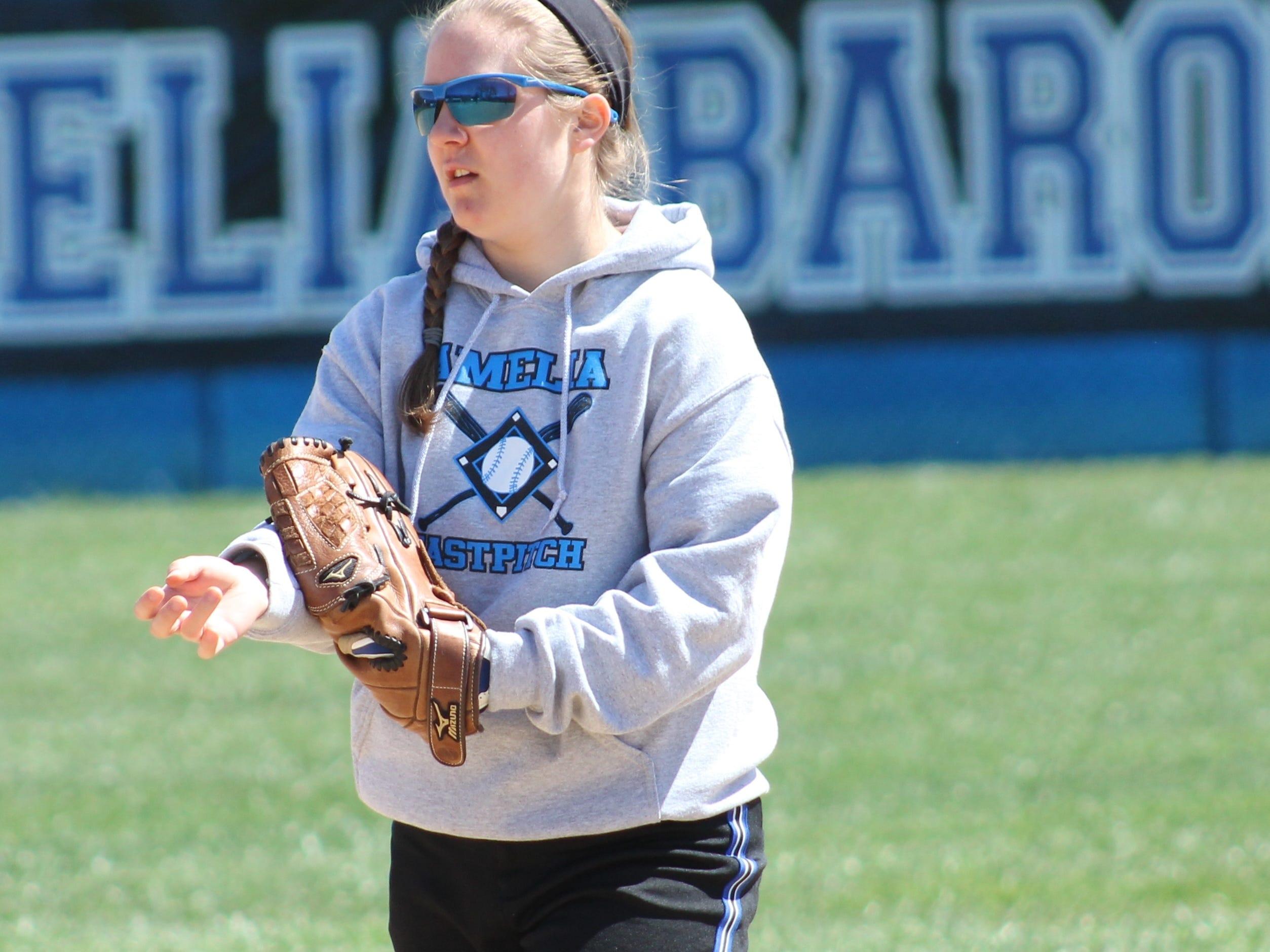 Second baseman Elena McDonald is the lone senior on the Amelia softball team.