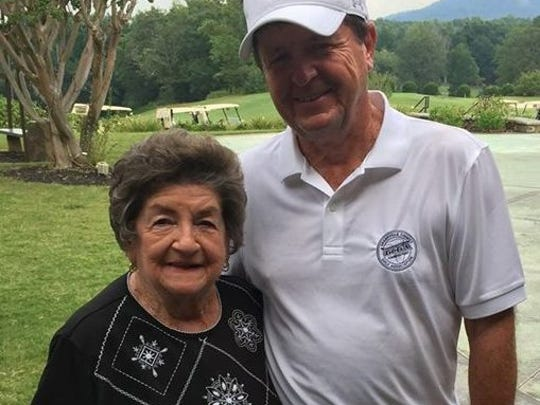 Phyllis Gravley-Henderson, with her son, Greenville County Amateur Championship director Robbie Gravley, was on hand at Green Valley Country Club Sunday to represent her son and Robbie's brother, Mike Gravley, who was inducted into the Greenville County Golf Hall of Fame but was unable to attend.