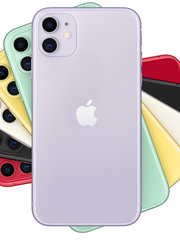 The iPhone 11, shown in six different colors