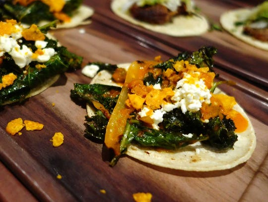 Quelites tacos with braised greens, chiles en rajas,