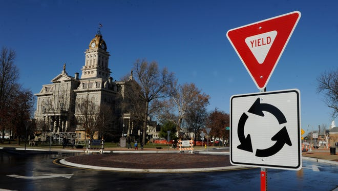 Newark opened the first roundabout connecting South Park Place and South Second Street in front of the Licking County Administration Building on Nov. 25, 2015.