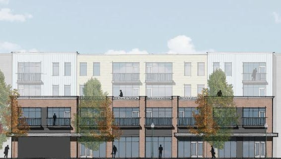 The Woodland Street elevation of the mixed-use project Green & Little plans in East Nashville.