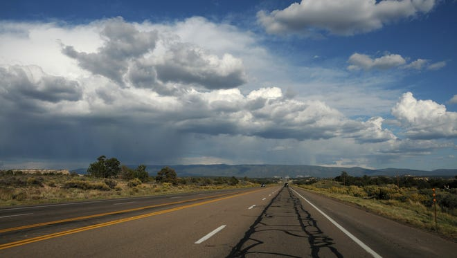 Heading east on US 550 across New Mexico, west of Cuba, NM
