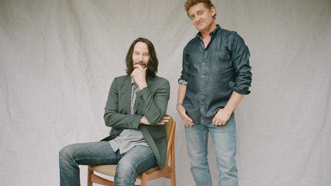 "Keanu Reeves, left, and Alex Winter, the stars of the ""Bill & Ted"" movie franchise, in South Pasadena, California, in June."