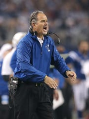 Indianapolis Colts head coach Chuck Pagano tries to
