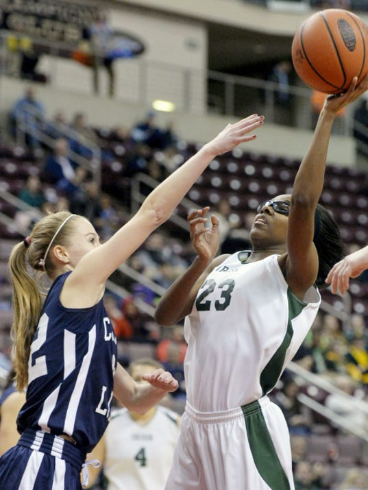 York Catholic's Japriya Carroll attempts a shot over Camp Hill's Addie Guyer during the first half of Thursday's District 3 Class AA championship game at Giant Center.