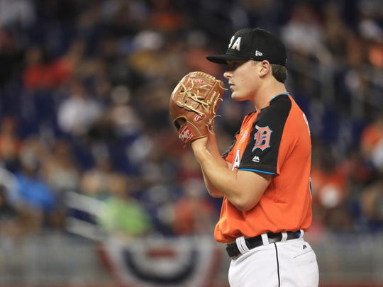 Tigers prospect and U.S. Team pitcher Beau Burrows delivers the pitch against the World Team during the SiriusXM All-Star Futures Game at Marlins Park on July 9, 2017 in Miami.
