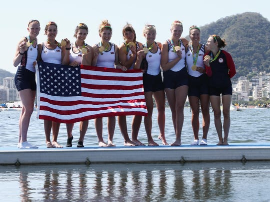 589080622.jpg RIO DE JANEIRO, BRAZIL - AUGUST 13: Gold medalists United States pose for photographs after the medal ceremony for the Women's Eight on Day 8 of the Rio 2016 Olympic Games at the Lagoa Stadium on August 13, 2016 in Rio de Janeiro, Brazil. (Photo by Buda Mendes/Getty Images)