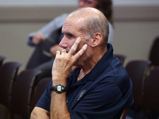 Former Suffern High School cross-country coach Joe Biddy attends a Suffern Board of Education meeting in Hillburn July 10, 2018.