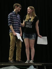"""Trayce Wilcox and Christine Carsey rehearse a scene from the play, """"The Reflecting Pond"""" which is written and directed by Bryan Gladden. The play will debut in performance at the Columbus Arts Festival."""
