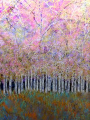 """Aspen Clan,"" mixed-media painting by Stephanie Saint-Thomas"