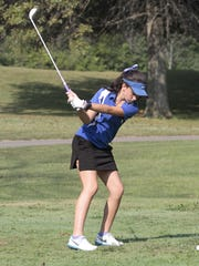 Rachel Hummel represents Mercy on hole number one in the 2015 GGCL championships at Weaterwax.