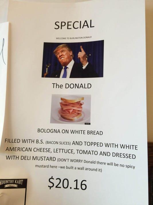 Trump Vermont Bologna Sandwich