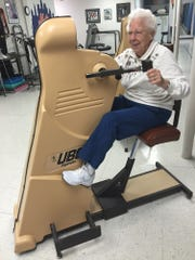 Mary Smith, 96, performs her twice weekly exercises