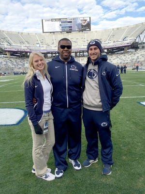 Katie Keller impressed Penn State football manager Jevin Stone when she was still a senior at Dallastown High. She eventually became a student video manager, along with Anthony Magliaro (right). Her duties included filming practice from a 40-foot lift, shooting every game from the sideline and video production work.